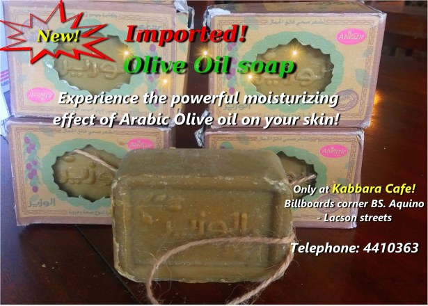 Try our Imported Olive oil soap, flown straight in from the Middle east! NOW IN BACOLOD  Olive oil has a powerful moisturizing effect that doesn't clog pores. Instead it penetrates deep into the skin to heal and to cleanse! Try out this ancient beauty secret used for centuries by the Greeks and the Queens of Ancient Egypt! This amazing secret now can be yours for only 250php! **LIMITED STOCKS AVAILABLE** Contact Kabbara Cafe at 441-0363 for your orders! First come first serve!